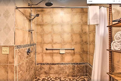 Bear Country Jewel condo Pigeon Forge, wheelchair friendly vacation rental with roll in shower, accessible, walk in shower view