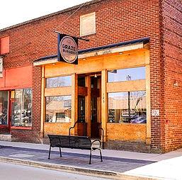 Graze Burgers, Sevierville TN, exterior view of front door and sign