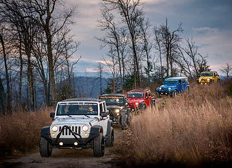 Smoky Mountain Jeep Rentals, line of mult colored jeeps driving on a mountain trail