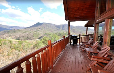 Secluded Cabin in Wears Valley & Pigeon Forge, TN, deck and mountain view