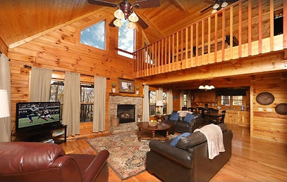 Wheelchair friendly cabin, Stardust Mountain cabin in Pigeon Forge, living room with fireplace