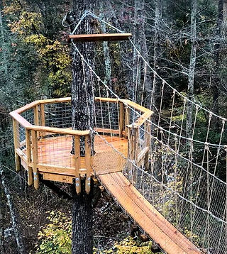 The Treehouse Escape in Gatlinburg TN, cabin rental, view of suspension bridge and lookout