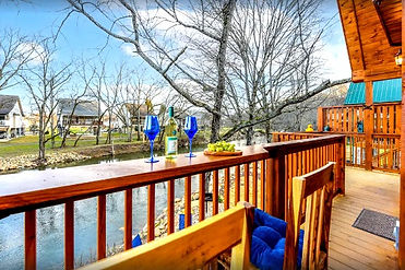 Duck Duck Goose, Pigeon Forge rental cabin on the water, exterior deck and river view