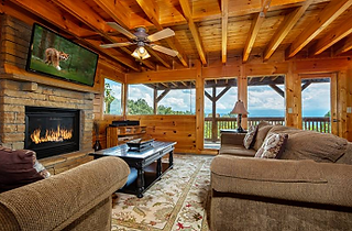 Rocky top retreat cabin Living room view