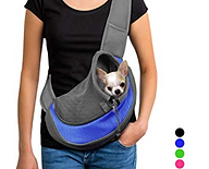 Comfy Ride Pet Sling, person carrying cute dog in body carrier