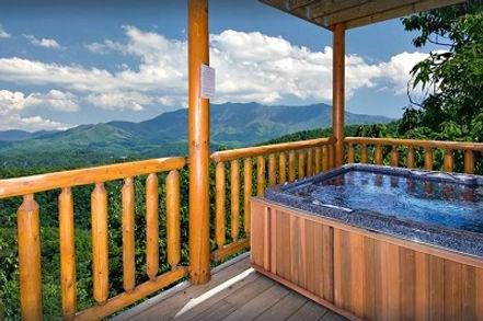 Cabin with elevator hot tub view, Elegant Elk