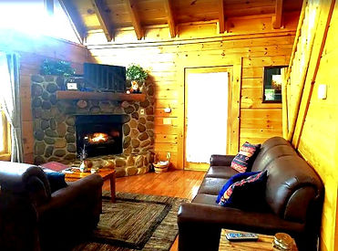 Affordable, cheap cabins in Gatlinburg- The Rustic Fox cabin fireplace view