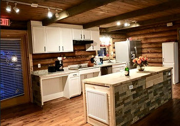 Handicap accessible features in cabin on culdesac in Gatlinburg, kitchen with roll under counter, roll under sink