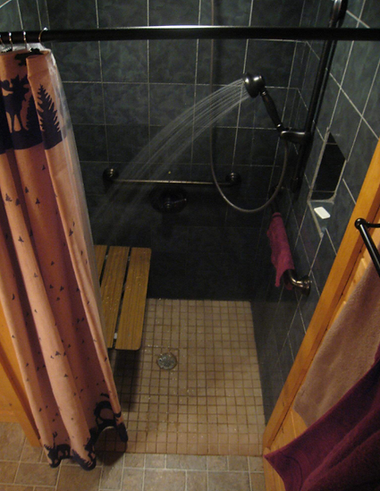 roll in shower Above the Clouds, cabin with wheelchar accessibility near Gatliburg and Pigeon Forge