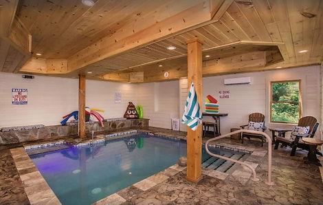 Gatlinburg cabin with indoor salt pool, poolside view