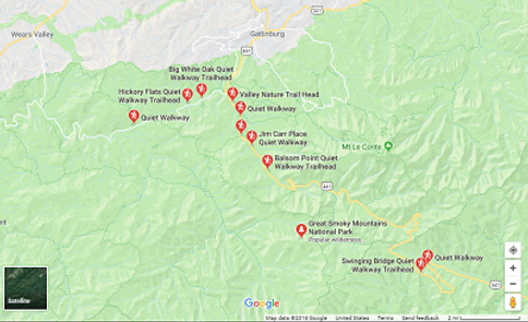 map of some Quiet Walkways in the Great Smoky Mountain National Park