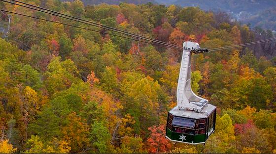Ober Gatlinburg aerial tramway overlooking fall colored trees in Gatlinburg tn