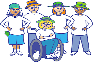 Happy people with special needs, group of people, person in wheelchair, disabled group of people