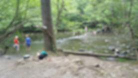 people standing in creek scene on Gatlinburg Trail