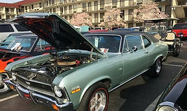 Classic Car at Car show, hot rod in hotel parking lot