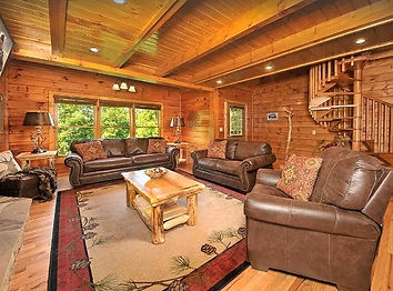 The Great Escape Cabin Pigeon Forge rentals, Cabins Pet Friendly close to Dollywood, living room and spiral staircase view of cabin