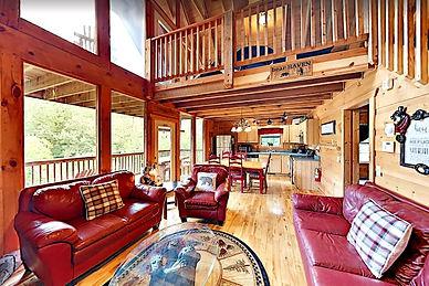 Bear Haven wheelchair accessible cabin Gatlinburg, living room view