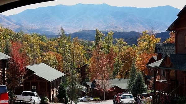 Fall View of mountains and cabins in a Gatlinburg Falls Resort, Gatlinburg TN
