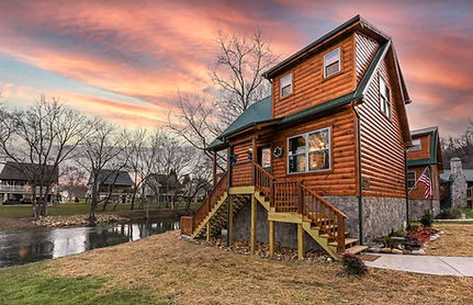 Duck Duck Goose Pigeon Forge rental cabin on the water, exterior and river view