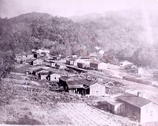 Historical photo of the ;logging town of Elkmont 1918