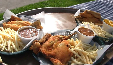 English Mountain Trout Farm sign, Sevierville, TN, entree with trout, french fries, baked beans, outdoor seating