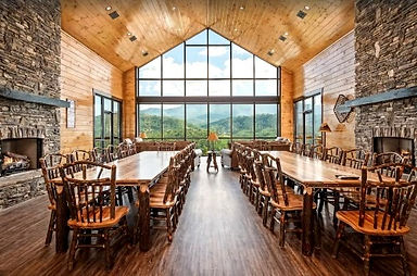 Greystone Point Lodge, Gatlinburg, TN large group cabin rental, dining room with mountain view