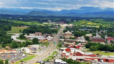 View of the City of Sevierville, Tennessee from above