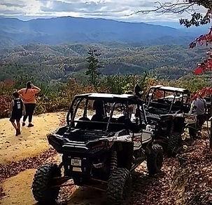 Smoky Mou tain Adventure Tours, Off roading UTV tours in the Smoky Mountiains, 3 UTVs with mountain view