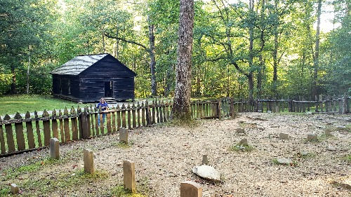 Little Greenbrier Schoolhouse and graveyard near Walker Sister's Cabin, Great Smoky Mountains, Metcalf Bottoms Trail