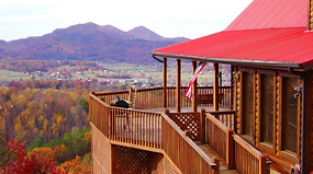 Sample cabin rental in Wears Valley, wrap around porch and deck overlooking beautiful mounain views