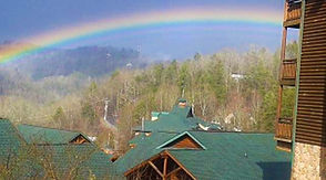 Cabins at Westgate Resort in Gatlinburg with a Rainbow above