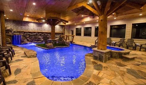 Eagle River Cabin in Pigeon Forge TN, cabins with indoor private pools, pool view