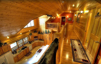 Cabins for Christmas & Thanksgiving Holidays, Pigeon Forge, TN kitchen view of Creekside Lodge