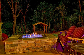 Urban Cowboy honeymoon cabin firepit outside