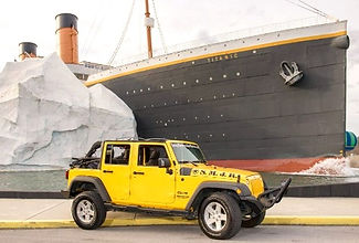 Yellow Jeep in front of Titanic Museum in Pigeon Forge, TN