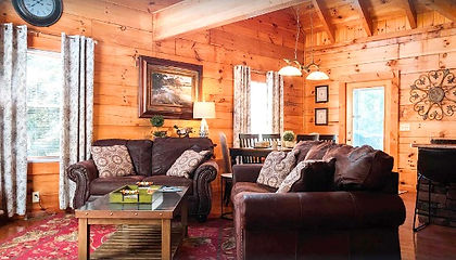 Bear Tales Lodge living room view of cabin near the Island in Pigeon Forge, Tennessee