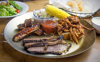 Five Oaks Farm Kitchen Smoke House Sampler plate, Sevierville Tennessee Bbq plate