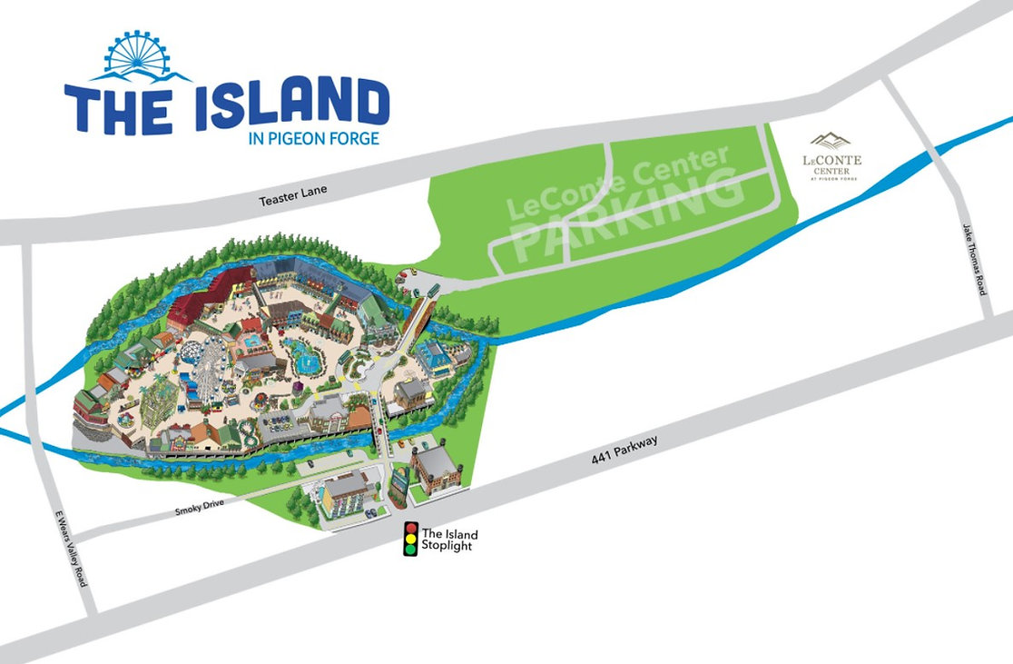 The Island Map, Pigeon Forge, TN, also shows LeConte Center location
