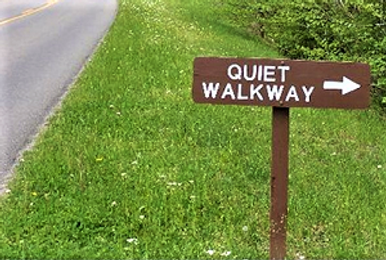 Quiet Walway Sign with arrow pointing the way in Great Smoky Mountains National Park