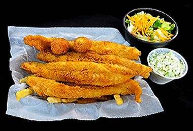 PawPaw's Catfish Kitchen fried fresh catfish dinner entree with hush puppies, cole slaw and salad