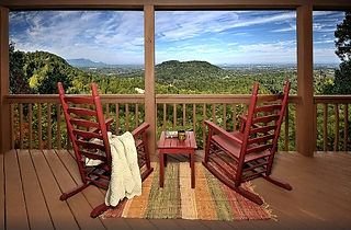 Honeymoon Cabin Rental deck and mountain view Pigeon Forge tn