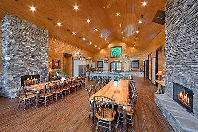 Cabins for Thanksgiving Pigeon Forge, Wildbriar Lodge dining room view with fireplaces