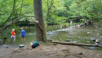 Gatlinburg Trail, people wading in creek