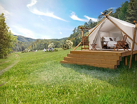 An Under Canvas tent in Pigeon Forge, Tn