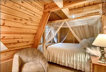 Rolling Waters Chalet Gatlinburg bedroom view of A frame chalet