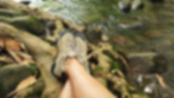 hiking shoes, creek rocks, relaxing by a creek in Gatlinburg, Tennessee