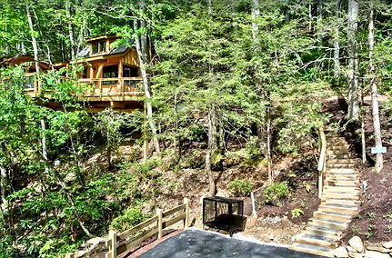 Dogwood Treehouse at Treehouse Grove at Norton Creek, Gatlinburg TN exterior view with steps going up