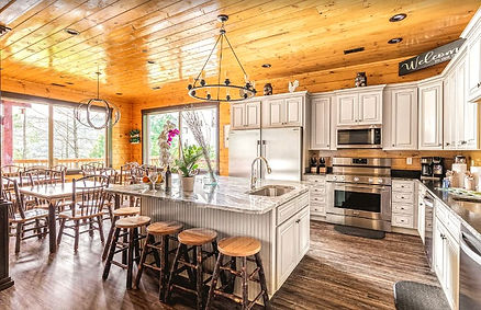 Big Willow Retreat x large cabin for Christmas in Gatlinburg, Cabins for Thankgiving in Gatlinburg, kitchen view