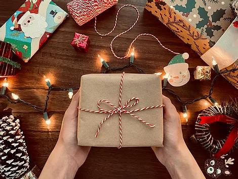 Christmas present and Christmas lights