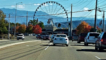 Pigeon Forge driving toward the Wheel at The Island
